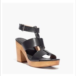 Madewell 10 Irving Black Leather Platform Sandal